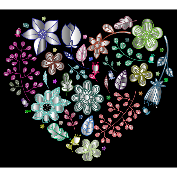 Prismatic Psychedelic Floral Heart 3