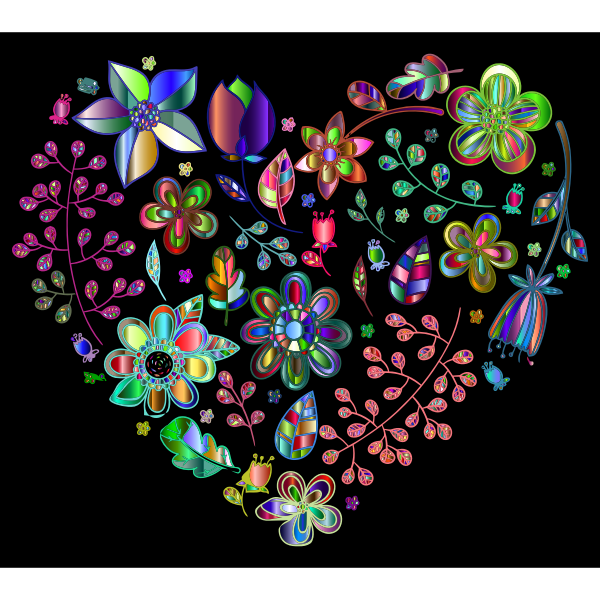 Prismatic Psychedelic Floral Heart 4
