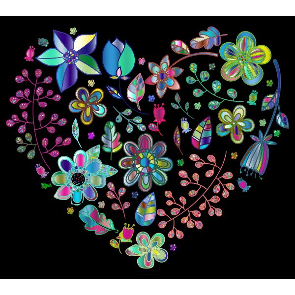 Prismatic Psychedelic Floral Heart