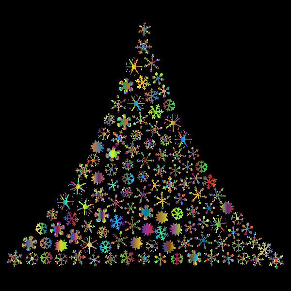 Prismatic Snowflake Christmas Tree 2 No Background