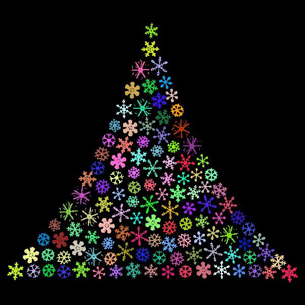 Prismatic Snowflake Christmas Tree No Background