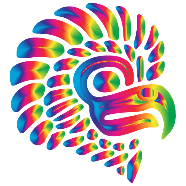 Prismatic Stylized Mexican Eagle Silhouette 8