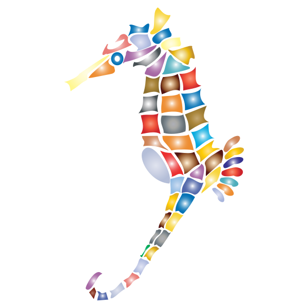 Prismatic Stylized Seahorse Silhouette 2