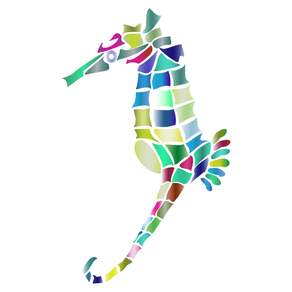 Prismatic Stylized Seahorse Silhouette 3