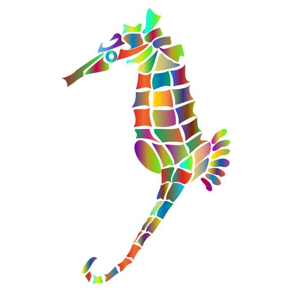 Prismatic Stylized Seahorse Silhouette 4