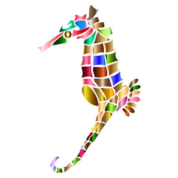 Prismatic Stylized Seahorse Silhouette 5