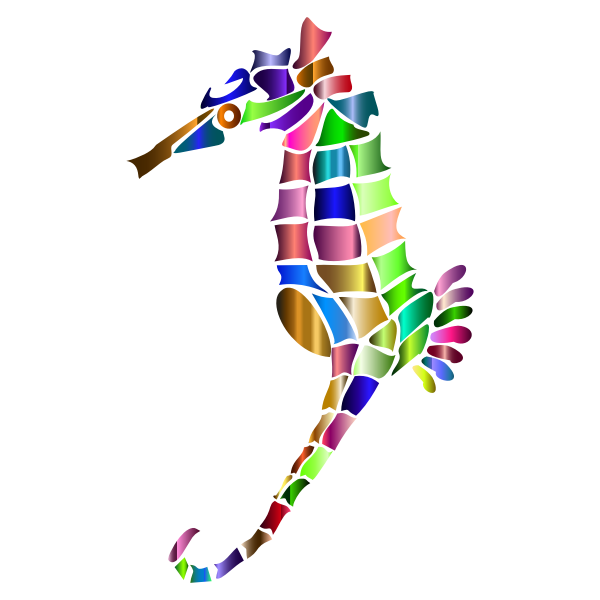 Prismatic Stylized Seahorse Silhouette 6