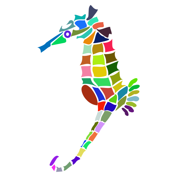 Prismatic Stylized Seahorse Silhouette
