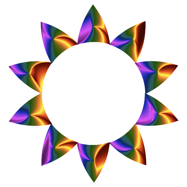 Prismatic Sun Line Art No Background