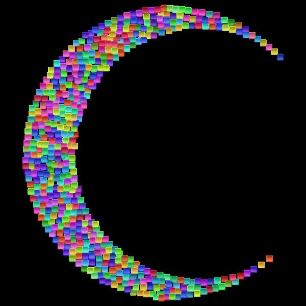 Prismatic Tiles Crescent Moon