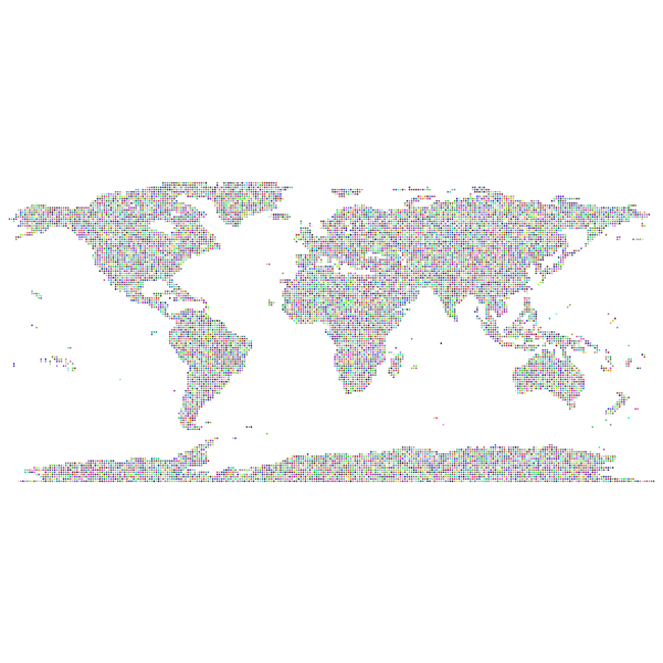 Prismatic World Map Dots