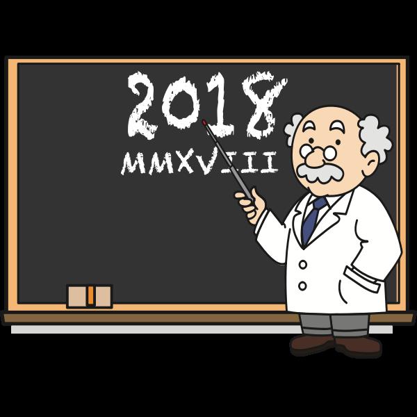 Professor in front of blackboard