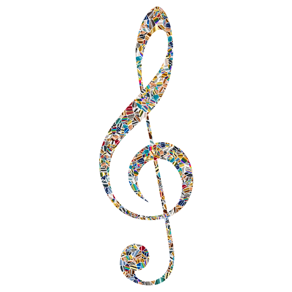 Clef silhouette with pattern