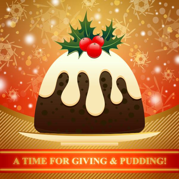 Christmas pudding vector drawing