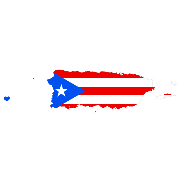 Puerto Rico map and flag