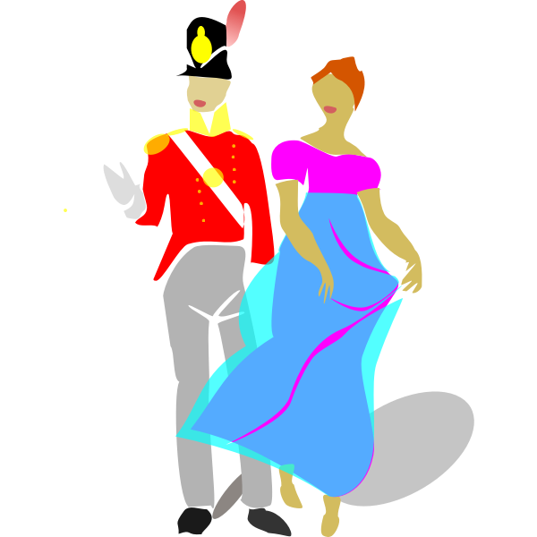 Vector image of man and woman dancing