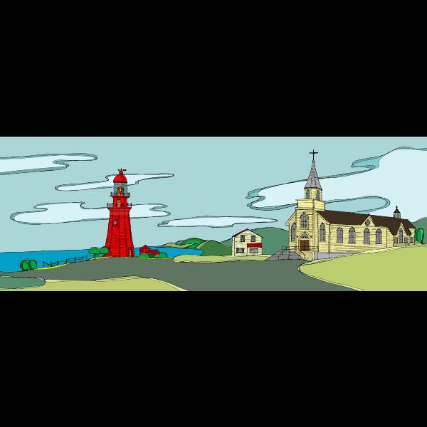 Quebec Seaside Illustration