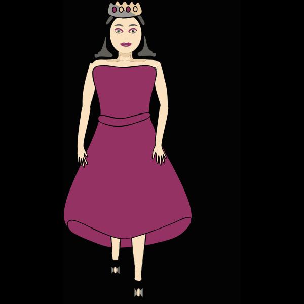 Queen in royal purple dress vector image