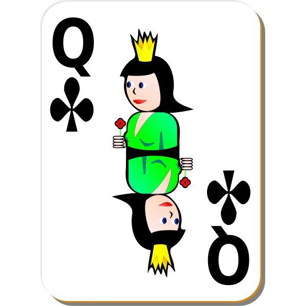 Queen of Clubs gaming card vector illustration