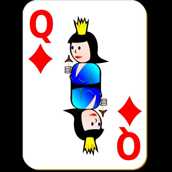 Queen of Diamonds gaming card vector illustration