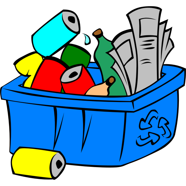Vector illustration of colorful recycle bin full of waste