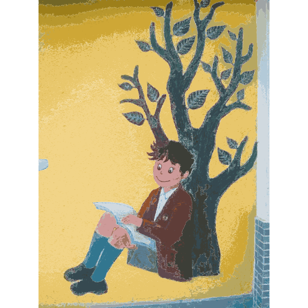 Boy reading a book mural vector drawing