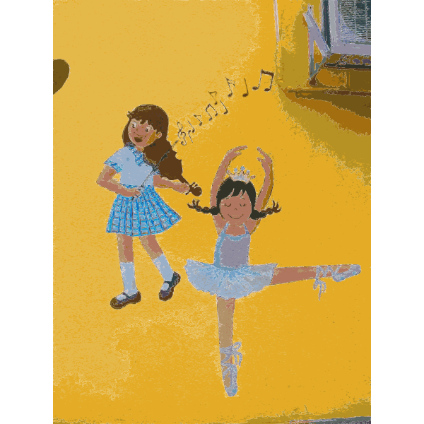 Ballet girls mural vector drawing