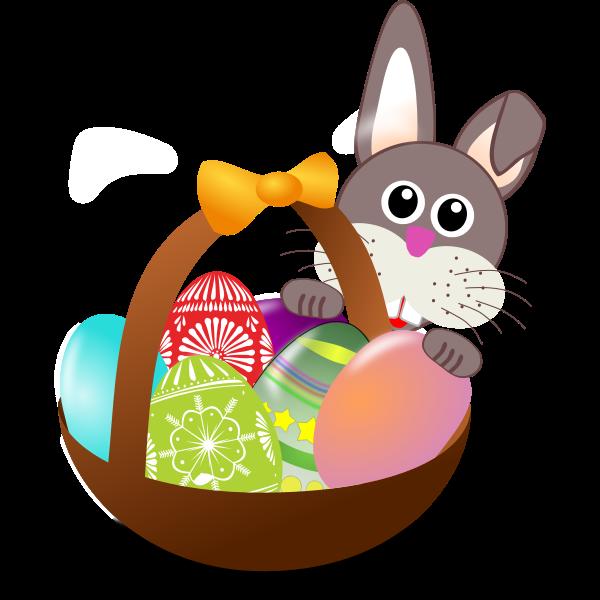Bunny behind Easter eggs basket vector illustration