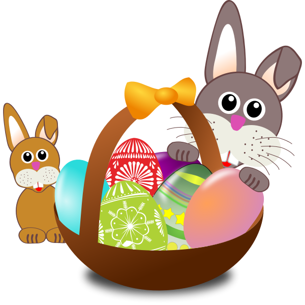Baby rabbit and a bunny behind Easter egg basket vector illustration