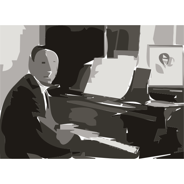 Rachmaninoff playing Steinway grand piano in 1936 (autotrace)