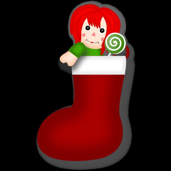 Vector clip art of rag doll Christmas stocking