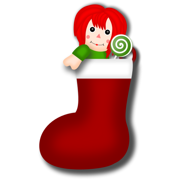 Vector clip art of rag doll Christmas stocking