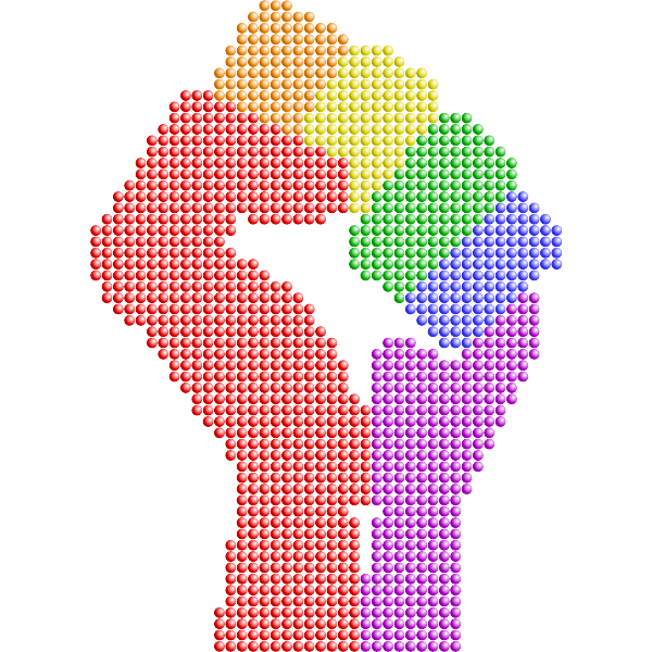 Clenched fist rainbow colors remix