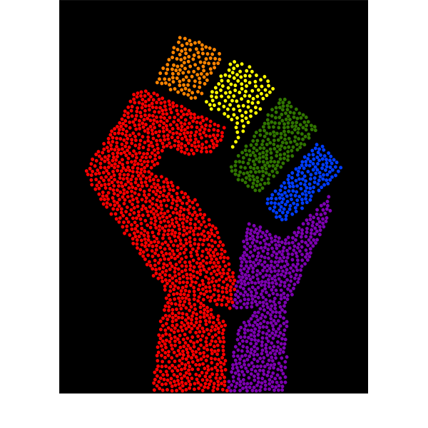 Rainbow Fist Remix Stipple Black