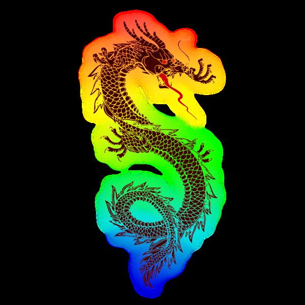 Rainbow dragon vector image | Free SVG