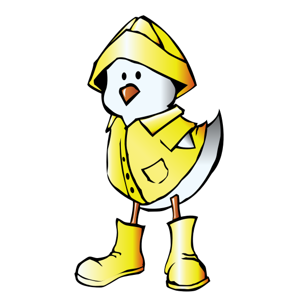 Chick with Raincoat