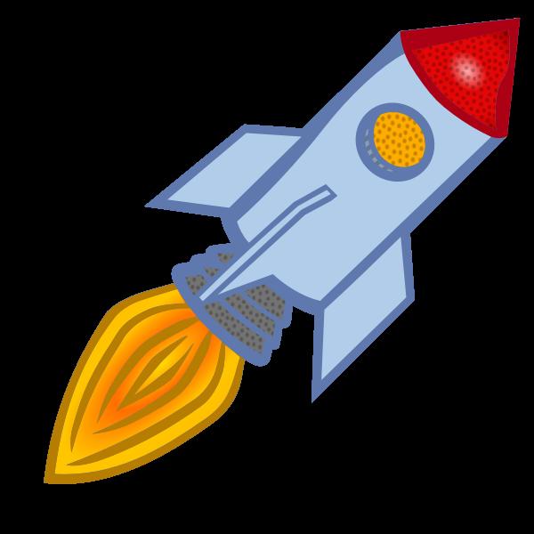 Vector clip art of blue cartoon rocket