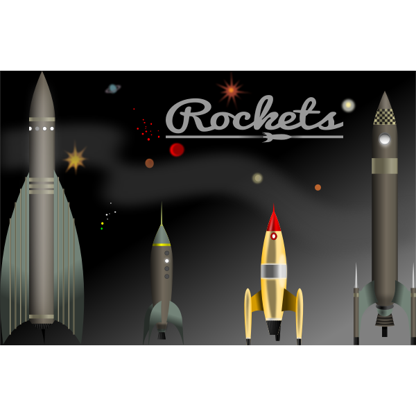 Vector graphics of selection of vintage rockets
