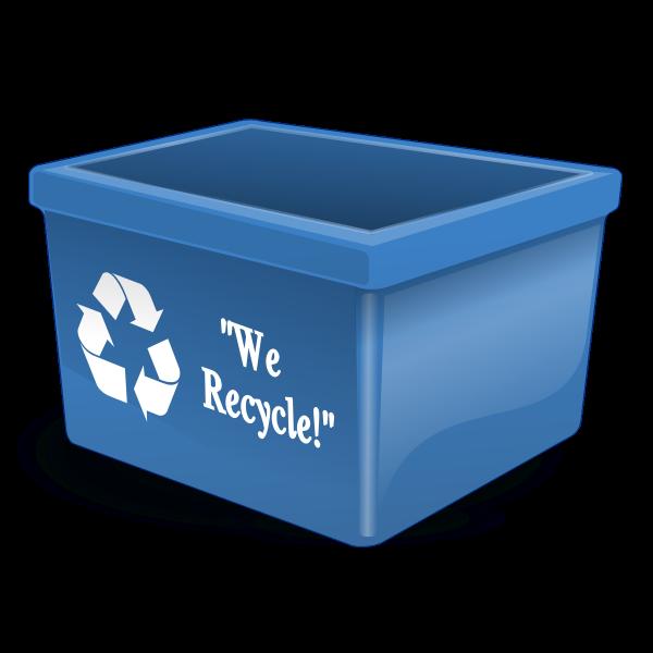 Empty blue recycling bin vector clip art