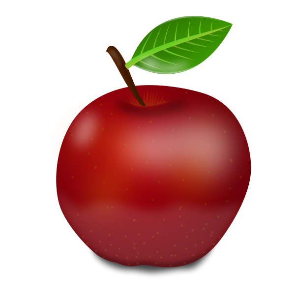 Photorealistic red apple with green leaf vector illustration