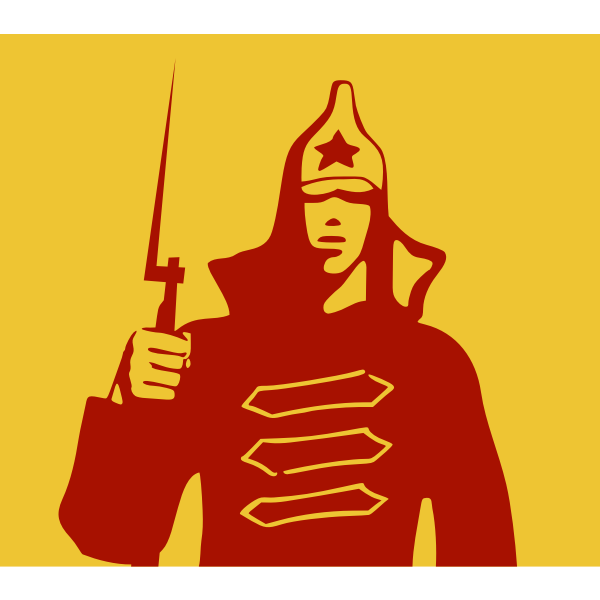 Clip art of young Red Army soldier holding a bayonet