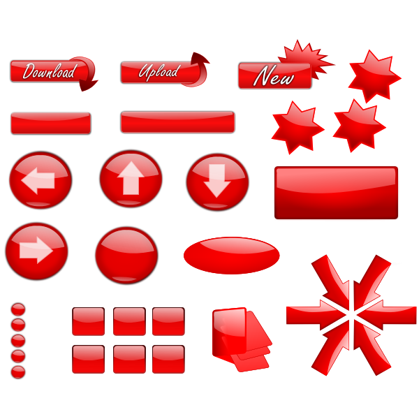 Selection of download, upload and arrows buttons vector image