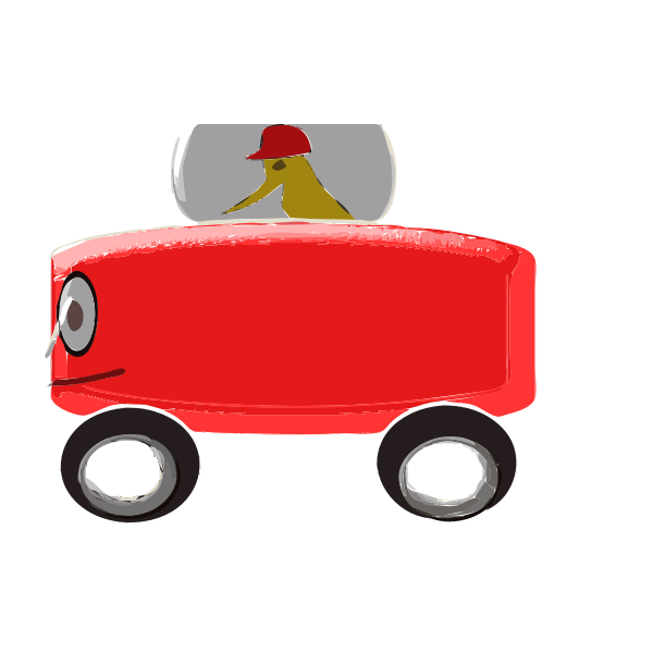 Red Toy Car Cartoon Art