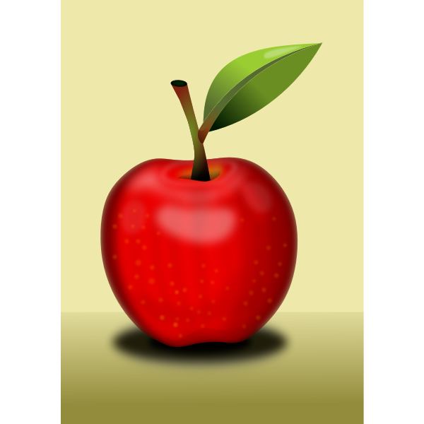 Red apple with shadow