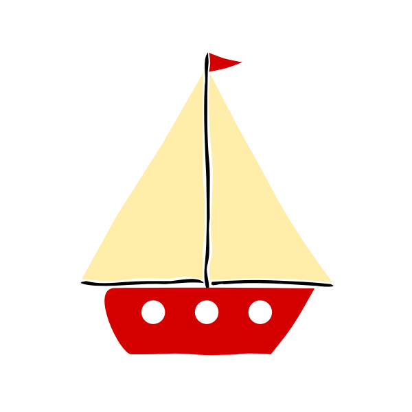 Red sail boat 01