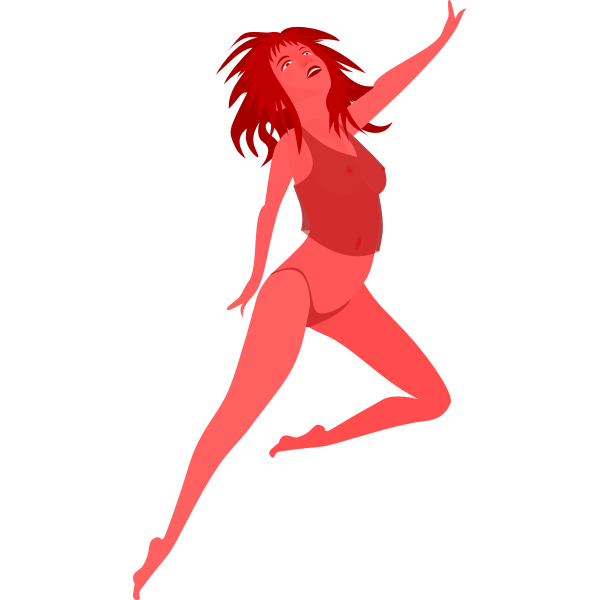 Jumping red girl