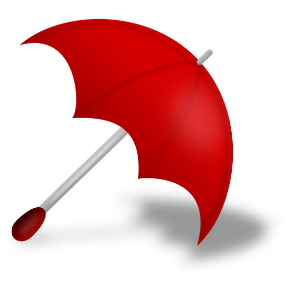 Vector image of red umbrella with shadow