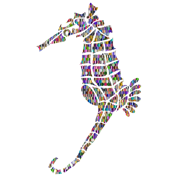 Reflective Iridescent Scales Stylized Seahorse Silhouette