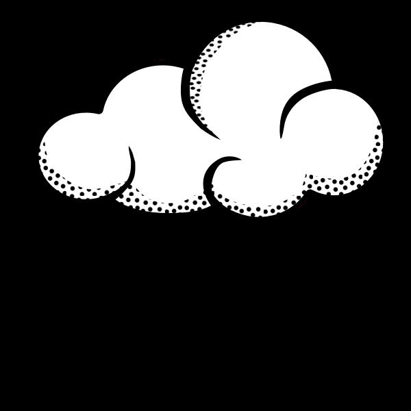 Vector illustration of think line art rainy cloud