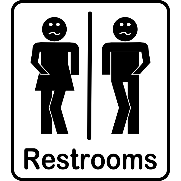 Vector clip art of comic black male and female rectangular toilet signs